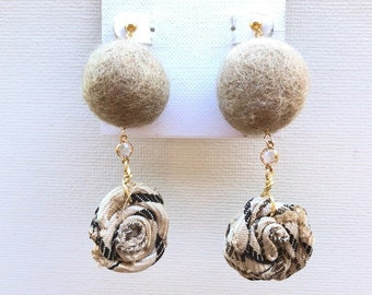 Felt and fabric handmade earrings with Swarovski connector. Elegant. Classy.