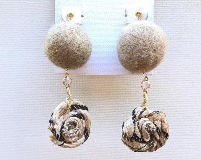 Felt and fabric handmade earrings with Swarovski connector. Elegant. Classy.