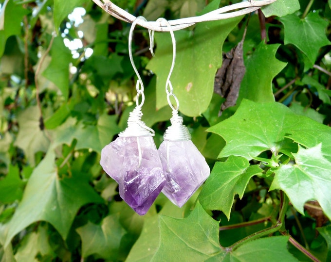 Amethyst on the rocks. Two rough amethyst nuggets wire wrapped earrings