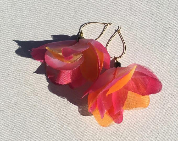 Hawaiian lei fabric flower earrings