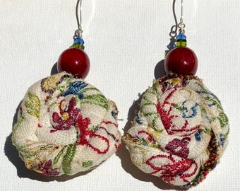 RedBud Earrings. Upcycled floral upholstery fabric flower buds, with wooden red beads.