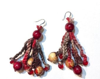 Boho earrings with crochet thread wood and glass beads in red and brown.