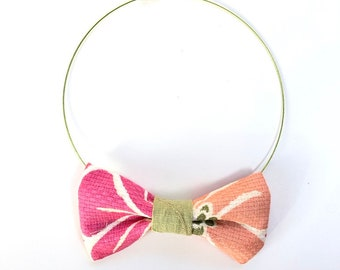 MeToo Necklace - NBowPnk1 - Bow Tie Necklace Upholstery Fabric in pink and coral. Unique.
