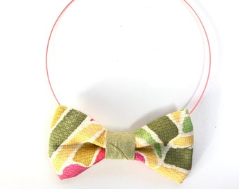 MeToo Necklace - NBowGrn11 - Bow Tie Necklace Upholstery Fabric in green and yellow. Unique.