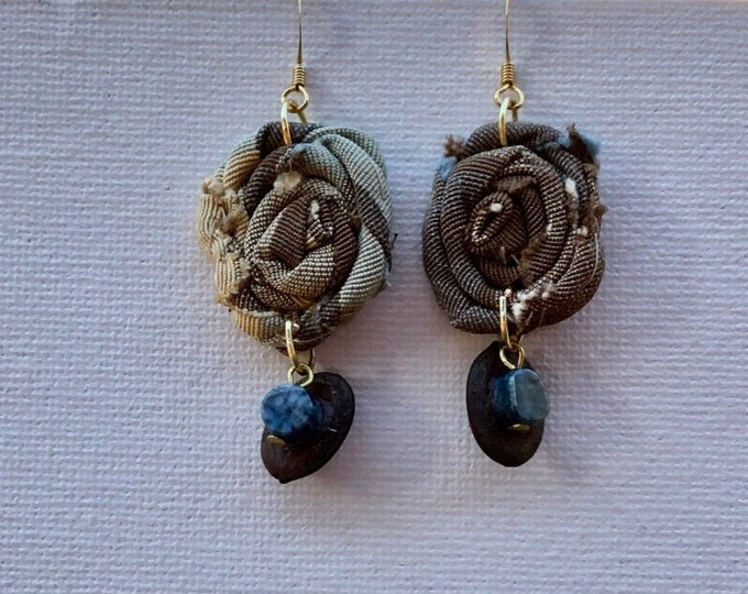 Unique fabric and beads drop down earrings. Fabric flower dangling earrings in brown and blue