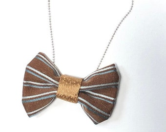 MeToo Necklace - NBowBrwn10 - Bow Tie Necklace Upholstery Fabric in brown. Unique.
