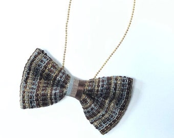 MeToo Necklace - NBowBrwn9 - Bow Tie Necklace Upholstery Fabric in brown. Unique.