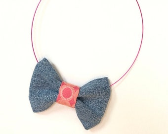 MeToo Necklace - NBowDnm8 - Bow Tie Necklace in denim jeans fabric with a pink accent. Unique.