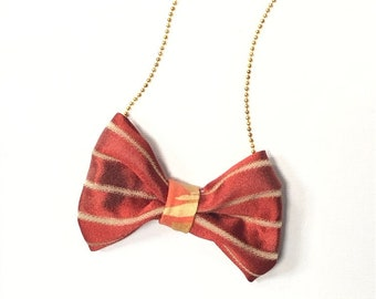 MeToo Necklace - NBowRd4 - Bow Tie Necklace Upholstery Fabric in red and gold. Unique.