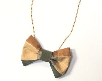 MeToo Necklace - NBowGrn7 - Bow Tie Necklace Upholstery Fabric in green and beige. Unique.