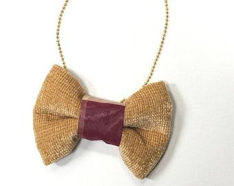 MeToo Necklace - NBowBrwn1 - Bow Tie Necklace Upholstery Fabric in mustard gold. Unique.
