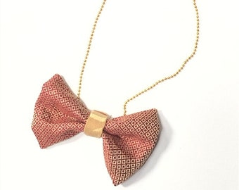 MeToo Necklace - NBowRd12 - Bow Tie Necklace Upholstery Fabric in red and gold. Unique.