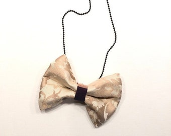 MeToo Necklace - NBowBrwn17 - Bow Tie Necklace Upholstery Fabric in beige. Unique.