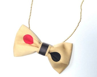 MeToo Necklace - NBowBrwn11 - Bow Tie Necklace Upholstery Fabric in yellow with dots. Unique.
