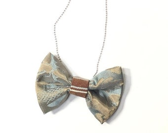MeToo Necklace - NBowBl7 - Bow Tie Necklace Upholstery Fabric in blue and beige. Unique.