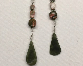 HappyTears Earrings. A statement earrings in green and earth tones jasper natural stone.