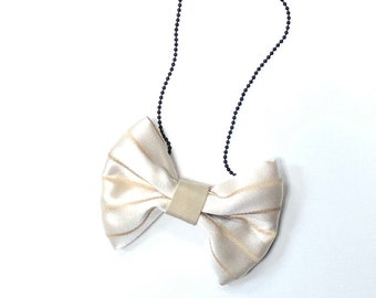 MeToo Necklace - NBowBrwn13 - Bow Tie Necklace Upholstery Fabric in beige. Unique.