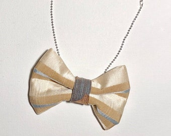 MeToo Necklace - NBowBrwn31 - Bow Tie Necklace Upholstery Fabric in beige and blue. Unique.