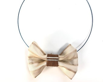 MeToo Necklace - NBowBrwn27 - Bow Tie Necklace Upholstery Fabric in beige. Unique.