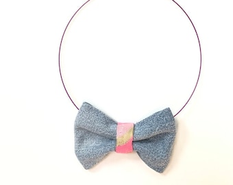 MeToo Necklace - NBowDnm3 - Bow Tie Necklace in denim jeans fabric with a pink accent. Unique.