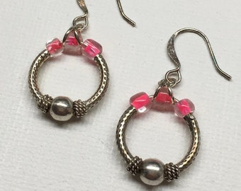 NeonRings Earrings. Silver and pink neon small hoops