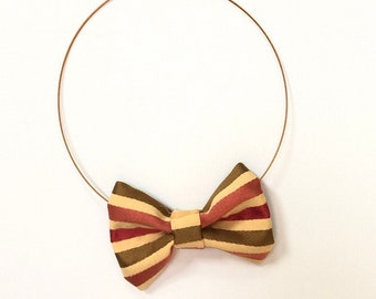 MeToo Necklace - NBowRd18 - Bow Tie Necklace Upholstery Fabric in red, gold and brown stripes. Unique.