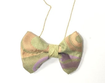 MeToo Necklace - NBowGrn1 - Bow Tie Necklace Upholstery Fabric in green and purple. Unique.