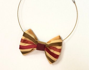 MeToo Necklace - NBowRd17 - Bow Tie Necklace Upholstery Fabric in red, gold and brown stripes. Unique.