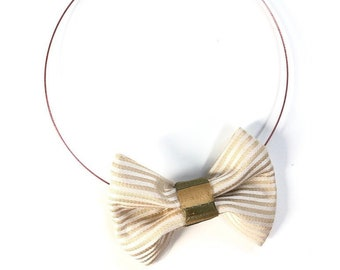 MeToo Necklace - NBowBrwn29 - Bow Tie Necklace Upholstery Fabric in beige and green. Unique.