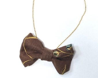 MeToo Necklace - NBowBrwn6 - Bow Tie Necklace Upholstery Fabric in brown. Unique.