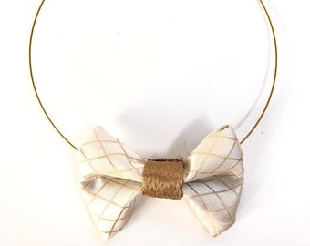 MeToo Necklace - NBowBrwn25 - Bow Tie Necklace Upholstery Fabric in beige and gold. Unique.