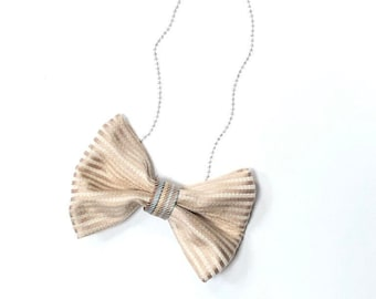 MeToo Necklace - NBowBrwn14 - Bow Tie Necklace Upholstery Fabric in beige. Unique.