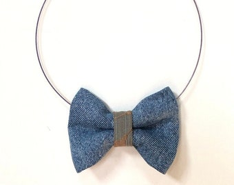 MeToo Necklace - NBowDnm4 - Bow Tie Necklace in denim jeans fabric with a blue accent. Unique.
