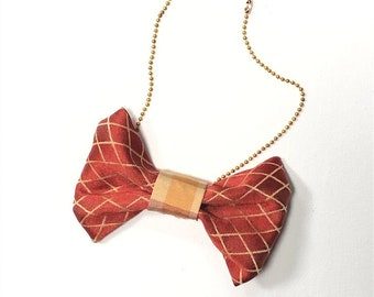 MeToo Necklace - NBowRd8 - Bow Tie Necklace Upholstery Fabric in red and gold. Unique.