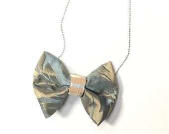 MeToo Necklace - NBowBl4 - Bow Tie Necklace Upholstery Fabric in blue and beige. Unique.