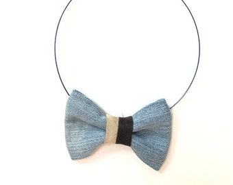 MeToo Necklace - NBowDnm7 - Bow Tie Necklace in denim jeans fabric with a black and beige accent. Unique.