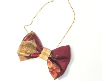MeToo Necklace - NBowRd11 - Bow Tie Necklace Upholstery Fabric in red and gold. Unique.