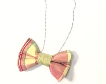 MeToo Necklace - NBowRd14 - Bow Tie Necklace Upholstery Fabric in red, gold and green. Unique.