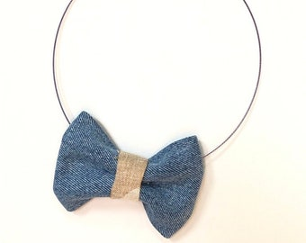MeToo Necklace - NBowDnm5 - Bow Tie Necklace in denim jeans fabric with a beige accent. Unique.