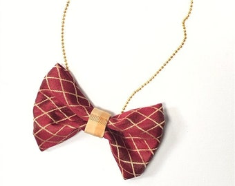 MeToo Necklace - NBowRd6 - Bow Tie Necklace Upholstery Fabric in red and gold. Unique.