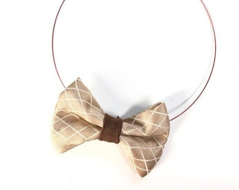 MeToo Necklace - NBowBrwn28 - Bow Tie Necklace Upholstery Fabric in beige and brown. Unique.