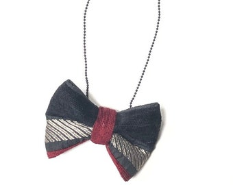 MeToo Necklace - NBowBlck8 - Bow Tie Necklace Upholstery Fabric in black, silver and red. Unique.
