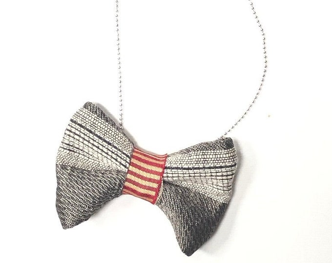 Featured listing image: MeToo Necklace - NBowBlck1 - Bow Tie Necklace Upholstery Fabric in silver and red. Unique.