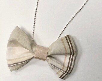 MeToo Necklace - NBowBrwn8 - Bow Tie Necklace Upholstery Fabric in beige. Unique.