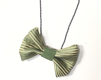 MeToo Necklace - NBowGrn4 - Bow Tie Necklace Upholstery Fabric in green and beige. Unique.