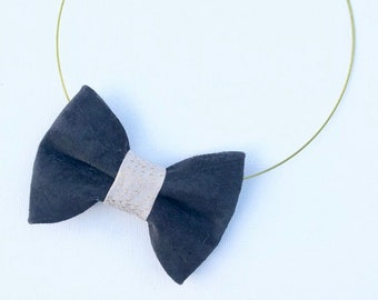 MeToo Necklace - NBowBlckL10 - Bow Tie Necklace in black suede and silver knot. Unique.