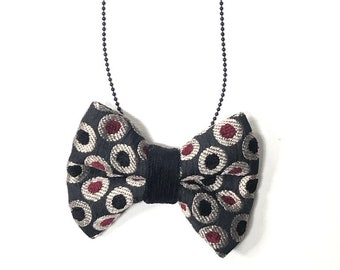 MeToo Necklace - NBowBlck7 - Bow Tie Necklace Upholstery Fabric in black and red. Unique.