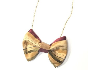 MeToo Necklace - NBowGrn6 - Bow Tie Necklace Upholstery Fabric in green, gold and red. Unique.