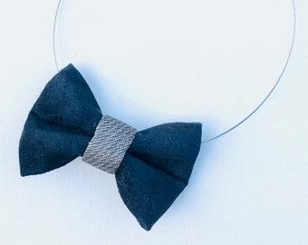 MeToo Necklace - NBowBlckL11 - Bow Tie Necklace in black suede and silver knot. Unique.