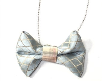 MeToo Necklace - NBowBl8 - Bow Tie Necklace Upholstery Fabric in blue and beige. Unique.